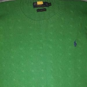 POLO BY RALPH LAUREN MENS GREEN  LAMBSWOOL KNIT SW